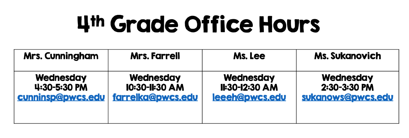 4th Grade office Hours